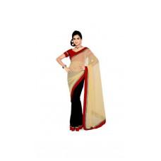 Deals, Discounts & Offers on Women Clothing - Mesmerizing Cream Black Coloured Half & Half Saree