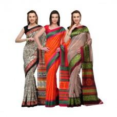 Deals, Discounts & Offers on Women Clothing - Studio Shubham combo of 3 printed bhagapuri silk sarees