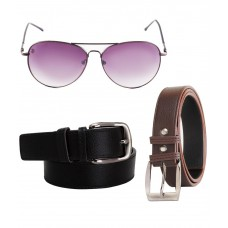 Deals, Discounts & Offers on Accessories - Elligator Brown Leather Belt For Men Pack Of 2 With Sunglasses