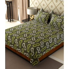 Deals, Discounts & Offers on Home Decor & Festive Needs - Home Candy Green & White Glowing the Dot Cotton Double Bed Sheet with 2 Pillow Covers