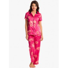 Deals, Discounts & Offers on Women Clothing - Magenta Printed Pyjama Set offer