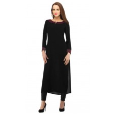 Deals, Discounts & Offers on Women Clothing - Flat 50% off on Cottinfab Black Rayon Kurti