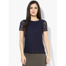 Deals, Discounts & Offers on Women Clothing - Dorothy Perkins Navy Scallop Edge Beaded Tee
