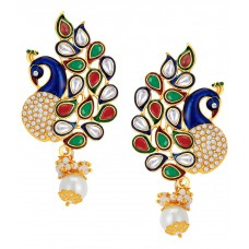 Deals, Discounts & Offers on Earings and Necklace - Sukkhi Gold Plated Peacock Australian Diamond Drop Earrings