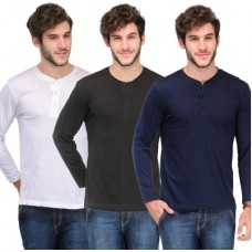 Deals, Discounts & Offers on Men Clothing - TSX Solid Men's Henley T-Shirt - Pack of 3