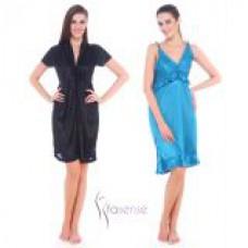Deals, Discounts & Offers on Women Clothing - Fasense Women Satin Nightwear Sleepwear Combo Set of Nighty Gown
