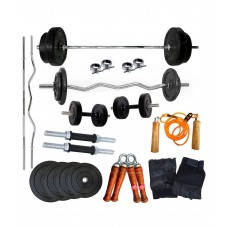 Deals, Discounts & Offers on Health & Personal Care - Gympack 18kg home gym Set with 3ft curl and 5ft plain rod+ Accessories