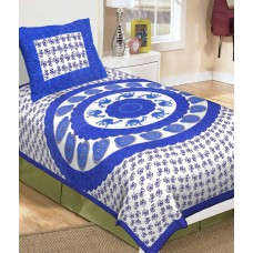 Deals, Discounts & Offers on Home Decor & Festive Needs - Metro Living Blue And White Traditional Cotton Single Bed Sheet With 1 Pillow Cover