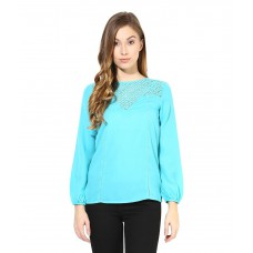 Deals, Discounts & Offers on Women Clothing - The Vanca Teal Poly Crepe Tops