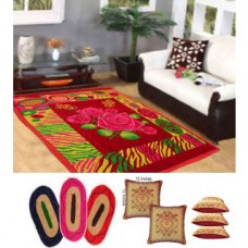 Deals, Discounts & Offers on Home Decor & Festive Needs - Combo of quilted Carpet with 3 Mats and 5 Cushion Covers