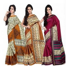 Deals, Discounts & Offers on Men Clothing - Pack of Shonaya Multicolour Printed Saree@ 499 only- Flat 60% off
