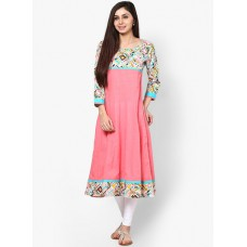 Deals, Discounts & Offers on Women Clothing - Aks Peach Printed Anarkali