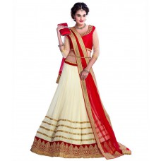 Deals, Discounts & Offers on Women Clothing - Khushali Collection Beige Net Lehenga