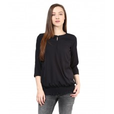 Deals, Discounts & Offers on Women Clothing - The Vanca Black Poly Crepe Tops