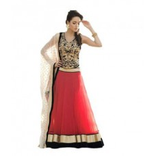 Deals, Discounts & Offers on Women Clothing - Needle Impression Designer Red And Black Koti Lehenga Choli