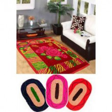 Deals, Discounts & Offers on Home Decor & Festive Needs - Combo Of Traditional Design Quilted Carpet With 3 Mats