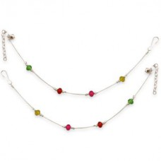 Deals, Discounts & Offers on Women - Sparkling Silver Anklet With Multicolor Crystal