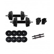Deals, Discounts & Offers on Auto & Sports - Iris 10kg Rubber Dumbbells + Rubber Coated Dumbbells Rods