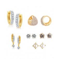 Deals, Discounts & Offers on Women - Parijaat White American Diamond Earrings Combo Of 6