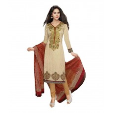 Deals, Discounts & Offers on Women Clothing - Sonal Dresses Beige Cotton Straight Unstitched Dress Material