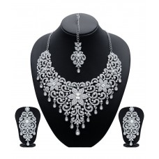 Deals, Discounts & Offers on Earings and Necklace - Sukkhi Stylish Gold & Rhodium Plated Silver Necklace Set With Maang Tika