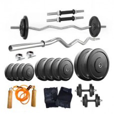 Deals, Discounts & Offers on Auto & Sports - Fitfly Home Gym Package 30Kg Weight+3ft Curl Rod+Dumbbell Rods+Gloves+Gripper