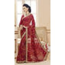 Deals, Discounts & Offers on Women Clothing - Sareeka Sarees Georgette Maroon Saree With Blouse Piece