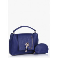Deals, Discounts & Offers on Accessories - Navy Blue Polyurethane (Pu) Handbag
