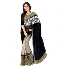 Deals, Discounts & Offers on Women Clothing - Ravi Designer Sarees Black Georgette Saree