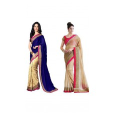 Deals, Discounts & Offers on Women Clothing - Janasya Pack Of 2 Beige And Blue Chiffon Sari