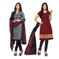 Deals, Discounts & Offers on Women Clothing - Parisha Set Of 2 Top With 1 Bottom & Dupatta In Embroidered Un-Stitched Straight Suit