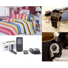 Deals, Discounts & Offers on Home Appliances - Bedsheet+Mobile+ Couples Watch at Just Rs 1499