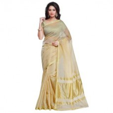 Deals, Discounts & Offers on Women Clothing - Janasya Womens Cream Color Synthetic Sareee