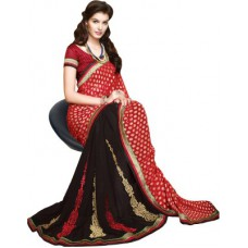 Deals, Discounts & Offers on Women Clothing - Hitansh Fashion Embriodered Fashion Georgette Sari