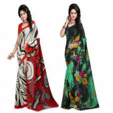 Deals, Discounts & Offers on Women Clothing - TRENDZ HEAVY GEORGETTE SAREe PACK OF 2