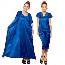 Deals, Discounts & Offers on Women Clothing - 4 PCS SATIN NIGHTWEAR IN BLUE OFFER