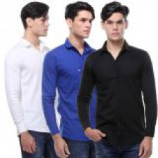 Deals, Discounts & Offers on Men Clothing - VSI Brands Full Sleeves Plain Casual Shirts - Pack of 3