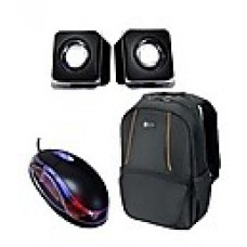 Deals, Discounts & Offers on Accessories - Dell Black Laptop Backpack With Optical Mouse & Speaker