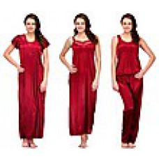 Deals, Discounts & Offers on Women Clothing - Oleva Combo Of 4 Maroon Satin Women Nightwear