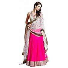 Deals, Discounts & Offers on Women Clothing - Fabfiza Pink Embroidered Women Semi Stitched Maharani Lehenga