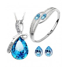 Deals, Discounts & Offers on Earings and Necklace - CYAN bow style crystal jewelry set Combo elegant bracelet