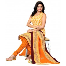 Deals, Discounts & Offers on Women - Drapes Yellow Cotton Printed Unstitched Dress Material with Dupatta