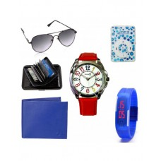 Deals, Discounts & Offers on Accessories -  Mango People Combo Gift Set Of Card Holder,Led Band, Casual Watch, Wallet, Mp3 Player & Aviator Sunglass - MPC_340