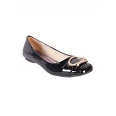 Deals, Discounts & Offers on Foot Wear - Black leatherette ballerina offer