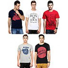 Deals, Discounts & Offers on Men Clothing - Combo Of 5 Cotton Men T Shirts at Rs 1499 only