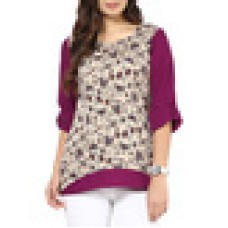 Deals, Discounts & Offers on Women Clothing - Beige and purple printed crepe full sleeves top