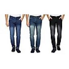 Deals, Discounts & Offers on Men Clothing - Wajbee Combo Of 3 Plain Men Jeans  offer