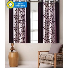 Deals, Discounts & Offers on Home Decor & Festive Needs - Zesture Polyester Multicolor Striped Eyelet Window Curtain
