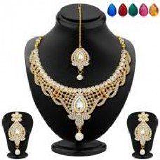 Deals, Discounts & Offers on Women - Sukkhi Divine Gold Plated AD Necklace Set with Set of 5 Changeable Stone