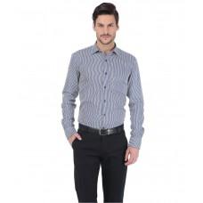 Deals, Discounts & Offers on Men Clothing - Basics Navy Blue Cotton Shirt offer